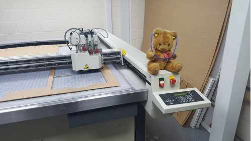 Teddy on a printing machine