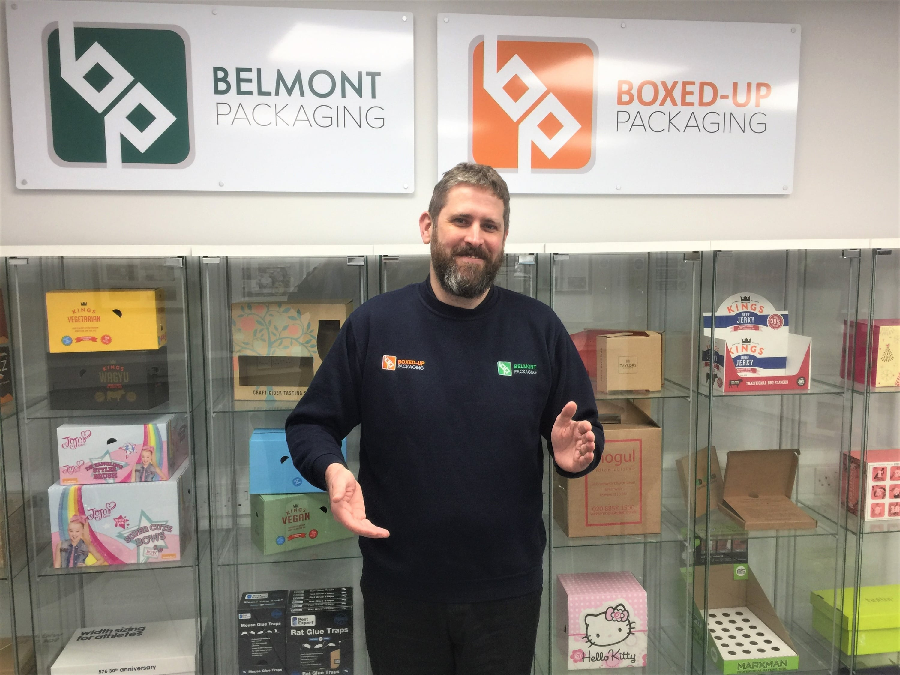 Gareth Rollo, Commercial Services Manager, holding Belmont Packaging's new Invisible Box