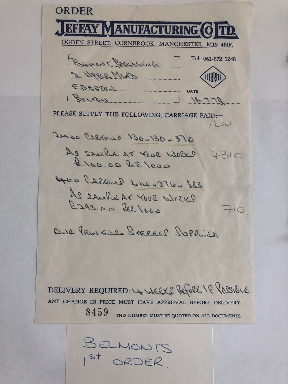 Belmont Packaging's 1st Order in 1978